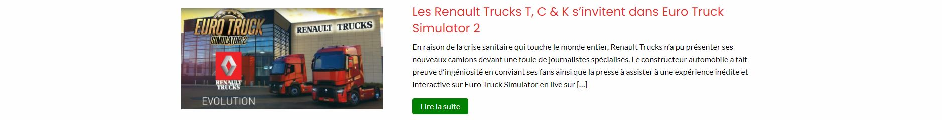 Article renault EURO TRUCK